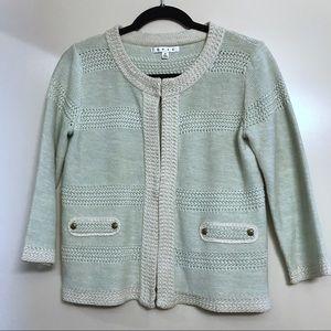 Cabi | Society Mint Green & Cream Knit Sweater, S